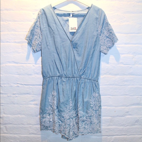 Pants - Chambray Embroidered Romper